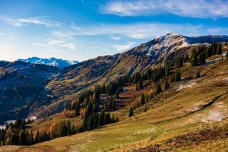 the sky, mountains, Austria, autumn, Hochkonig, Dienten, trees, nature