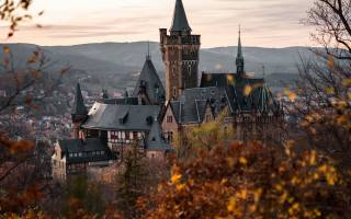 Wernigerode Castle, evening, sunset, Wernigerode cityscape, Landmark, Wernigerode, Saxony-Anhalt, Germany