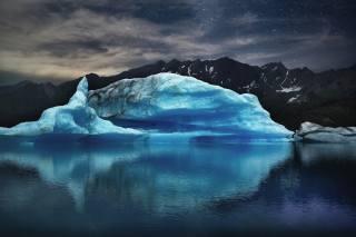 the ocean, iceberg, mountains, the sky, stars