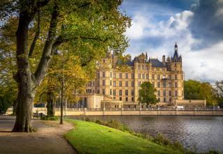 castle, river, Park, autumn
