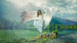 angel, fantasy, nature, mountains