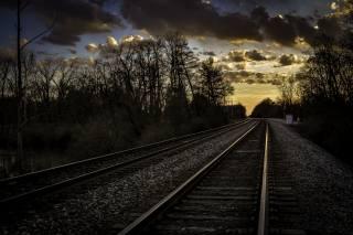 железнодорожные пути, закат солнца, трек, небо