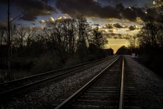 железнодорожные пути, západ slunce, trať, nebe