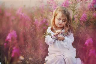 child, girl, baby, dress, curls, nature, summer, fireweed