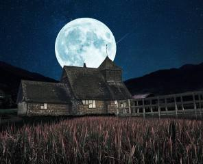 the house, night, the moon, Rendering