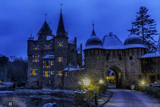Німеччина, замок, вечір, Burg Satzvey Mechernich, Уличные фонари