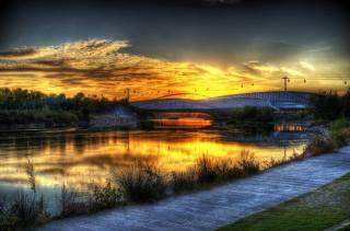 Španělsko, řeka, most, západ slunce, Zaragoza Aragon, tráva, příroda
