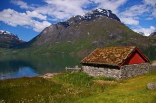 фьорд, небо, домик, лето, Норвегия