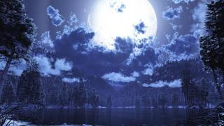 краєвид, природа, краса, зима, зимовий, ніч, нічний, ліс, лісовий, дерева, дерево, озеро, вода, гори, гірський, небо, Небесний, місяць, Місячний, світло, небо, планета, вода, зірка, хмари, облачный, темрява, темний