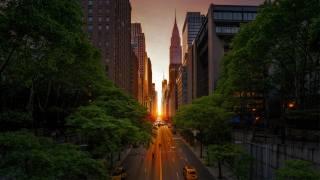 небоскреб улица городской, Нью-Йорк Манхэттен