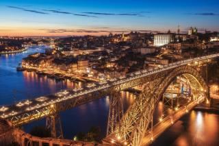 večer, most, řeka, doma, Portugalsko, porto, Vila Nova de Gaia Dom Luis I Bridge, město