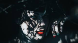 holka, manikúra, pohled, dark indigo, model, vlasy, obličej, tma, červené rty, fantazie