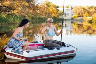 dívky, loď, rybaření, úlovek, Karas