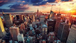 doma, mrakodrapy, večer, manhattan, new york, město
