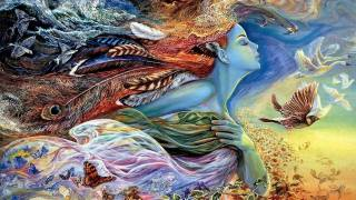 picture, painting, the sky, flight, butterfly, flowers, birds, fish, surrealism, elf, profile, wings, feathers, the air, Josephine Wall, fantasy, Жозефина Уолл