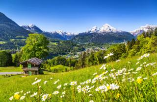 hory, příroda, hory, les, cesta, les, silnice, sky, stromy