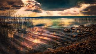 jezero, břeh, nebe