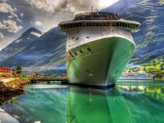 moře, hory, výletní loď, port