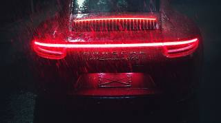 Porsche, carrera, porsche 911, Porsche 911 Carrera GTS, déšť, tmavé pozadí