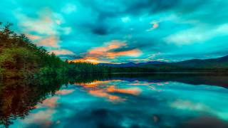 the lake, trees, reflection, nature, the sky