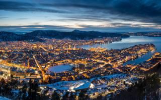 bergen, krajina, večer, západ slunce, světla, město, Norsko