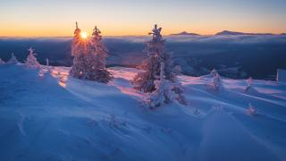 nature, landscape, winter, the sun, clouds, rays, snow, sunset, mountains, hills, trees, ate