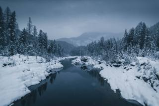 river, winter, snow, nature