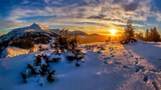 příroda, krajina, zima, hory, Lesy, nebe, slunce, mraky, paprsky, světlo, sníh, západ slunce, stopy, kopce, večer, jedli