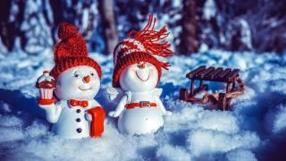 праздник, Новый год, Рождество, зима, снег, фигурки, снеговики, парочка, санки, ночь