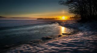 zima, jezero, slunce, sníh, krajina, západ slunce, příroda, večer, stromy