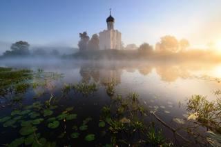 Maxim Евдокимов, příroda, krajina, voda, listy, mlha, kostel