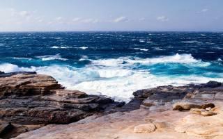 sea, surf, rocky shore, wave, horizon