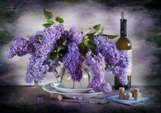 still life, vase, branches, lilac, plates, bottle, tube, wine, napkin