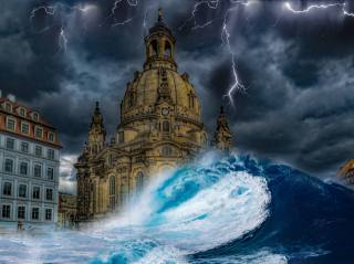 the city, the storm, wave, landscape, photoshop