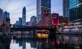 здания, мост, река, архитектура, город