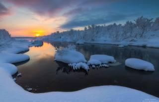 zima, řeka, foto, Андрей Олонцев