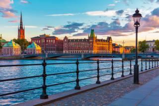Швеция Сзакаты, мост, забор, Уличные, фонари, город