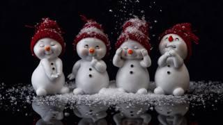 снеговики, темный фон, Новый год