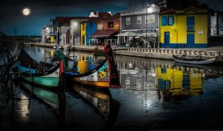 Португалия, дома, лодки, aveiro, водный канал, город