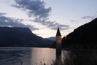 tower, river, hills, twilight