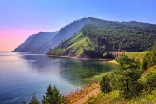 jezero, pobřeží, les, hory, Rusko, jezero, Bajkal, Eastern, Sibiř, kopce, příroda