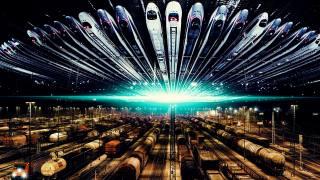 поезда, рельсы, ночь, вспышка