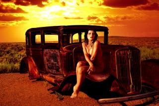 дівчина, машина, останки, прерія, захід