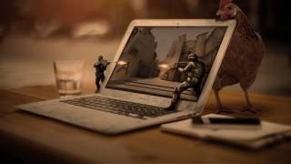 курка, ноутбук, солдати, бійка