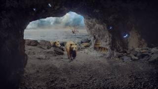 печера, ведмідь, море, корабель
