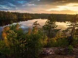 the lake, forest, Karelia