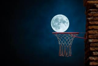 ніч, місяць, баскетбол, кошик