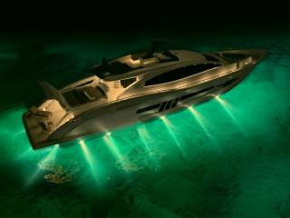 yacht, night, backlight