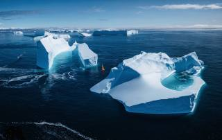 iceberg, boat, the ocean