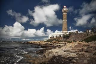 lighthouse, the sky, sea
